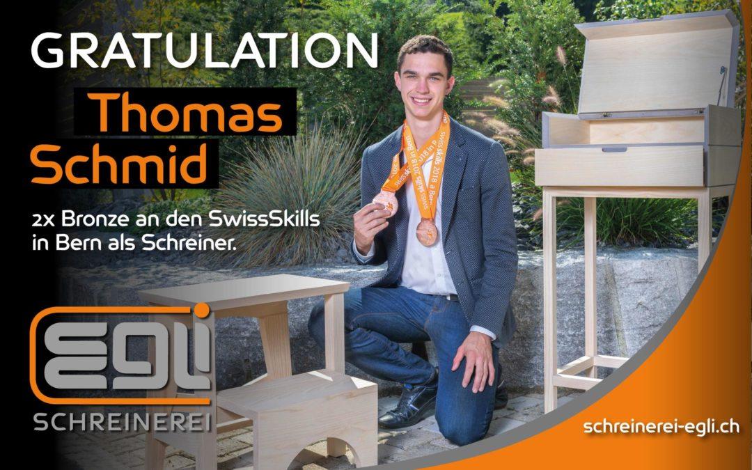 Gratulation Thomas Schmid, Schreinerei Egli Niederstetten